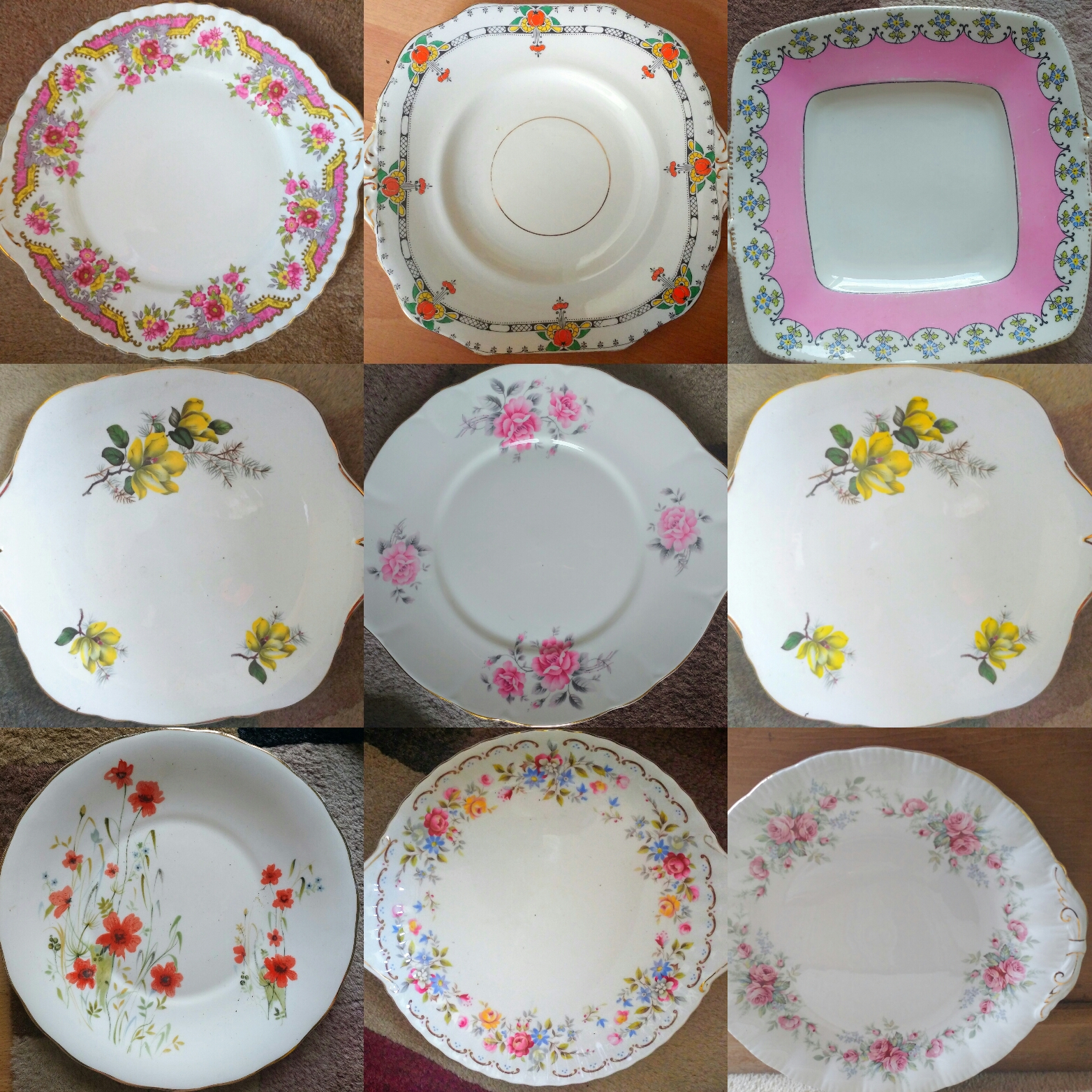 Job Lot 3 Vintage Mismatched China Mix Cake / Sandwich Plates Floral Chintz u2013 Perfect Bulk Tableware for a Mad Hatters Tea Party or Wedding etc! & xxbritishvintagemarketJob Lot 3 Vintage Mismatched China Mix Cake ...